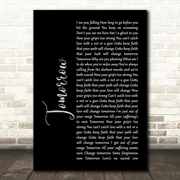 James Tomorrow Black Script Song Lyric Print