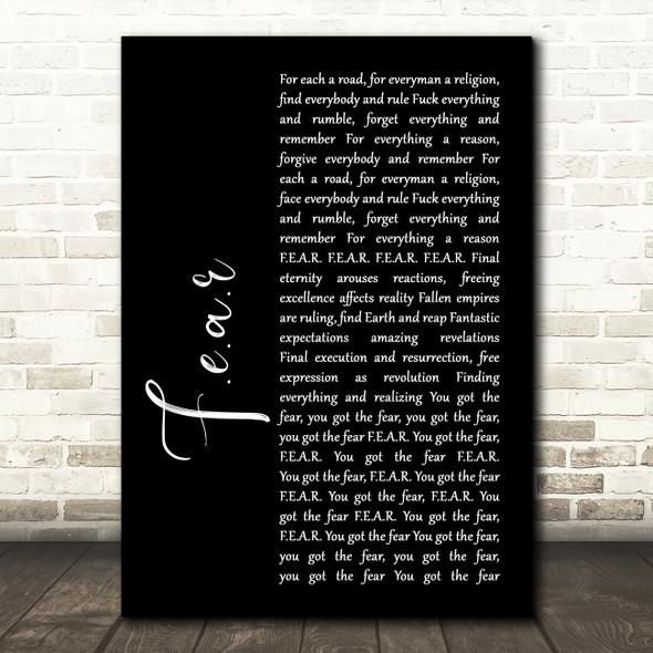 Ian Brown F.E.A.R Black Script Song Lyric Print
