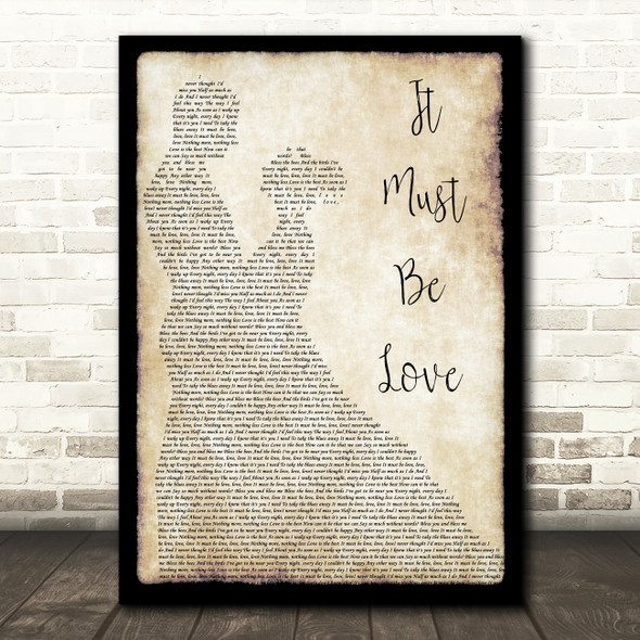 Madness It Must Be Love Song Lyric Man Lady Dancing Quote Print