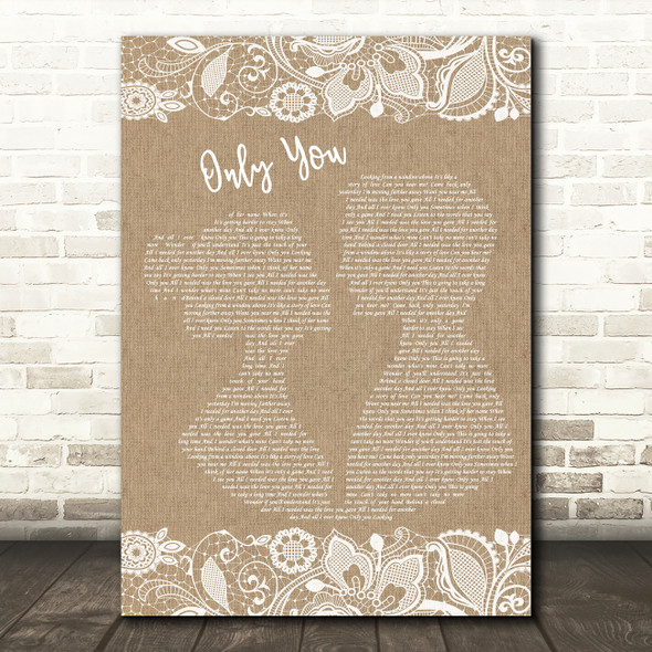 Yazoo Only You Burlap & Lace Song Lyric Print