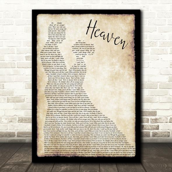 Bryan Adams Heaven Song Lyric Man Lady Dancing Quote Print