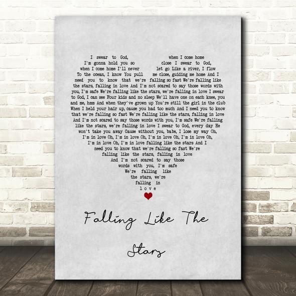 James Arthur Falling like the Stars Grey Heart Song Lyric Print
