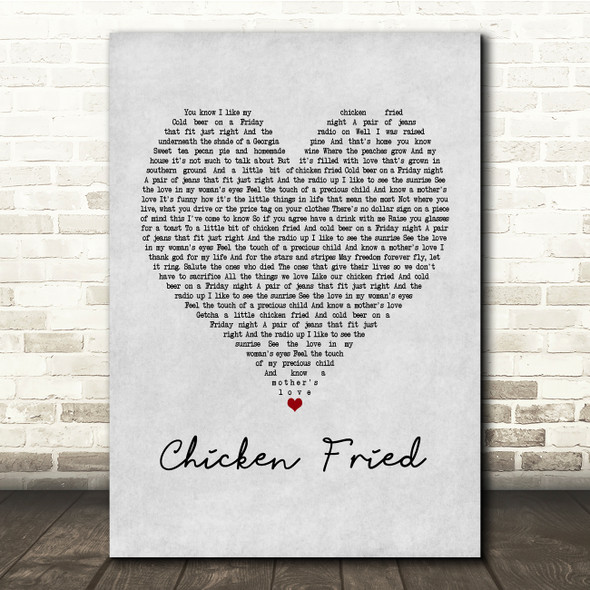 Zac Brown Band Chicken Fried Grey Heart Song Lyric Print