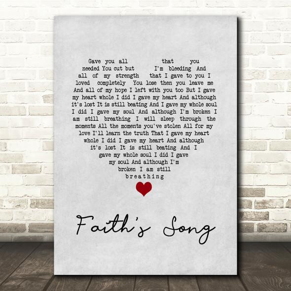 Amy Wadge Faith's Song Grey Heart Song Lyric Print