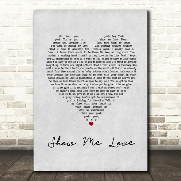 Robin S Show Me Love Grey Heart Song Lyric Print