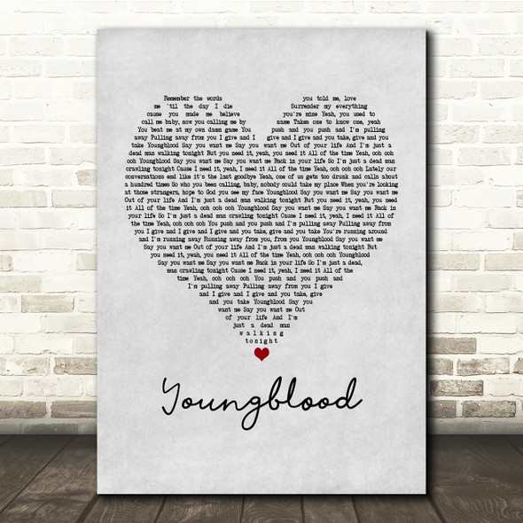 5 Seconds Of Summer Youngblood Grey Heart Song Lyric Print
