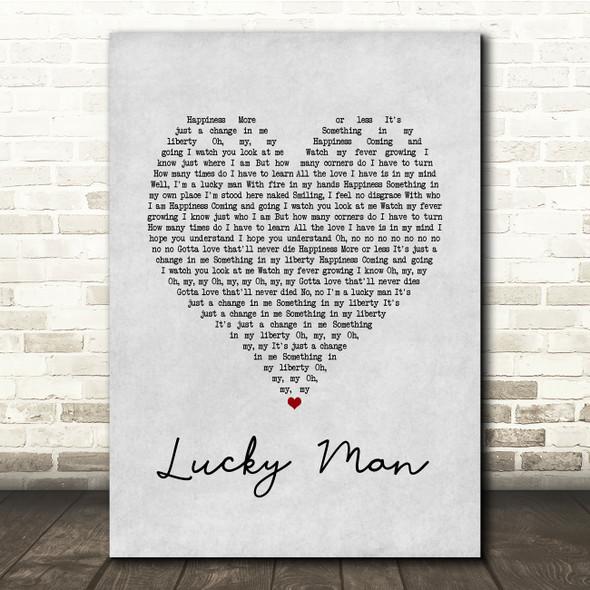 The Verve Lucky Man Grey Heart Song Lyric Print