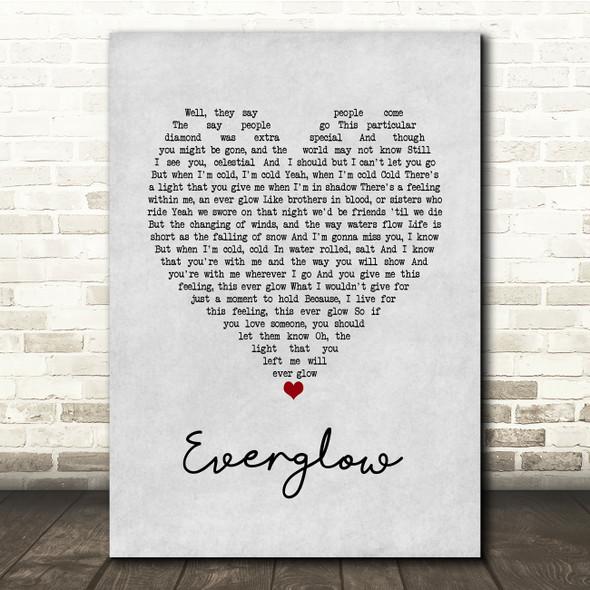 Coldplay Everglow Grey Heart Song Lyric Print