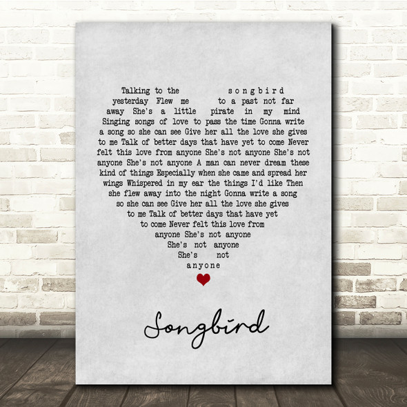 Oasis Songbird Grey Heart Song Lyric Print