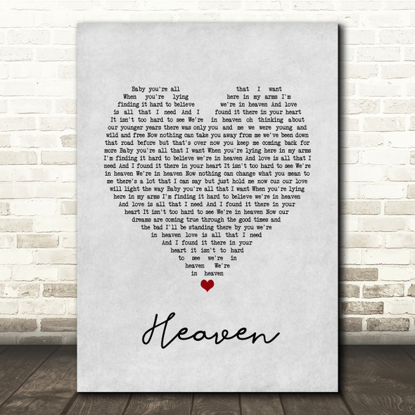 DJ Sammy Heaven Grey Heart Song Lyric Print
