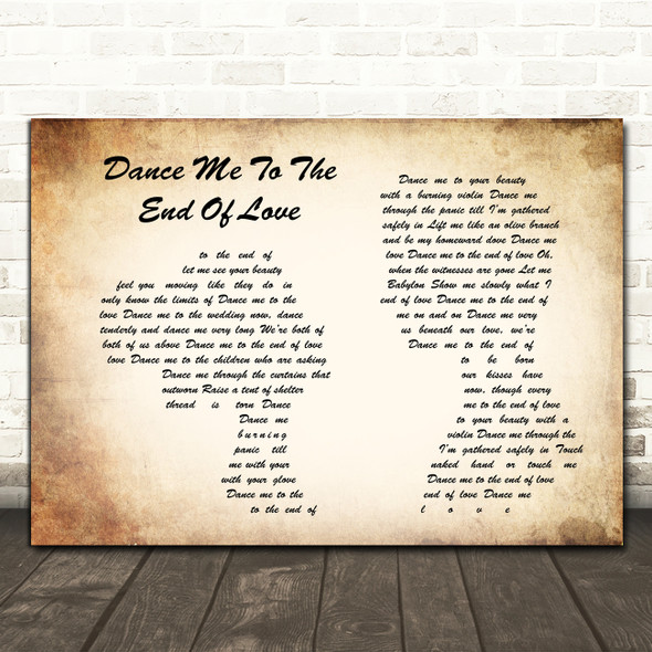 Leonard Cohen Dance Me to the End of Love Man Lady Couple Song Lyric Print