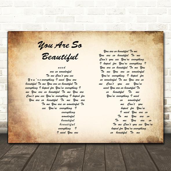 Joe Cocker You are so beautiful Man Lady Couple Song Lyric Print