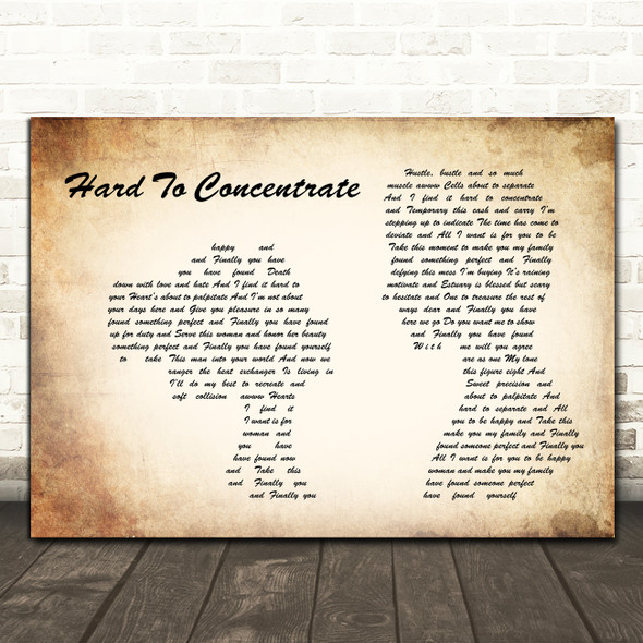 Red Hot Chili Peppers Hard To Concentrate Man Lady Couple Song Lyric Print