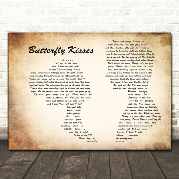 Bob Carlisle Butterfly Kisses Man Lady Couple Song Lyric Print