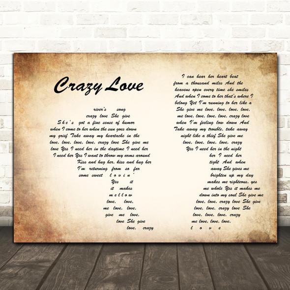 Van Morrison Crazy Love Man Lady Couple Song Lyric Print