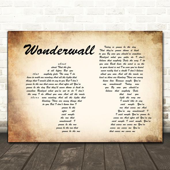 Oasis Wonderwall Man Lady Couple Song Lyric Print