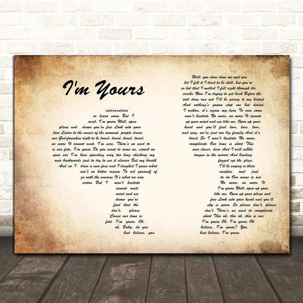 Jason Mraz I'm Yours Man Lady Couple Song Lyric Print
