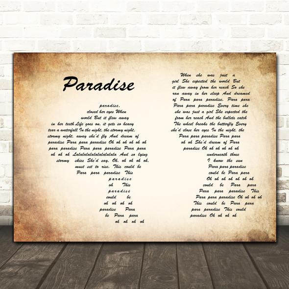 Coldplay Paradise Man Lady Couple Song Lyric Print