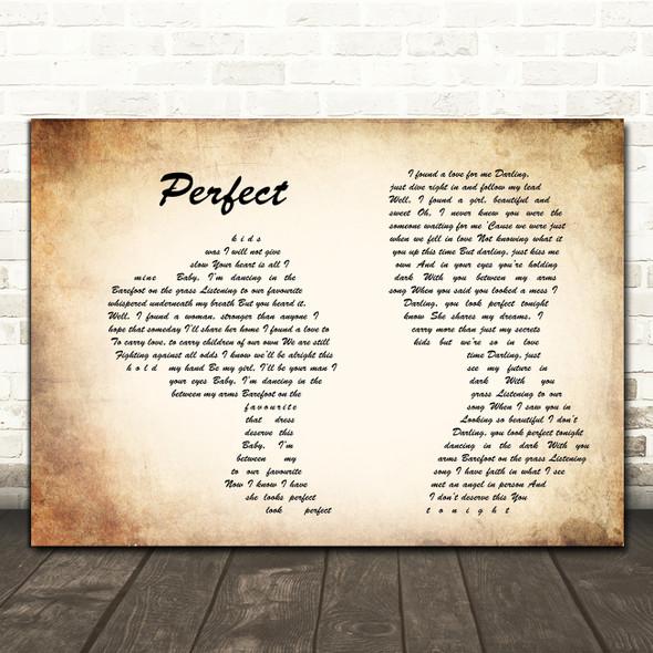 Ed Sheeran Perfect Man Lady Couple Song Lyric Print