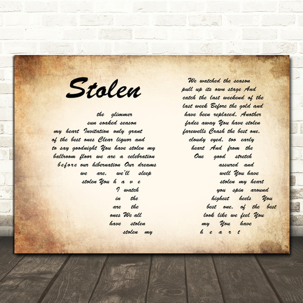 Dashboard Confessional Stolen Man Lady Couple Song Lyric Print