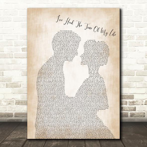 Bill Medley & Jennifer Warnes I've Had The Time Of My Life Man Lady Bride Lyric Print