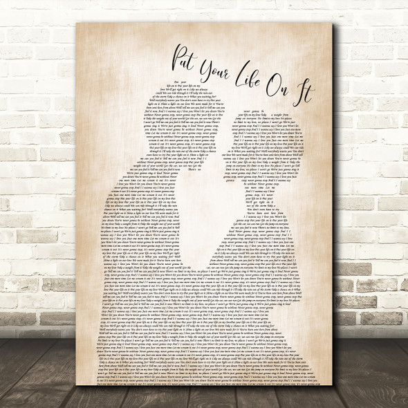 Kasabian Put Your Life On It Man Lady Bride Groom Wedding Song Lyric Print