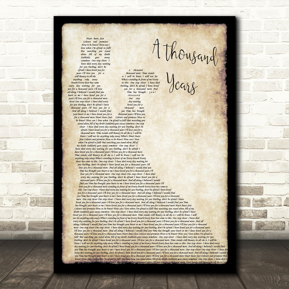 Christina Perri A Thousand Years Song Lyric Man Lady Dancing Quote Print