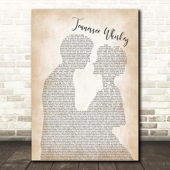 Chris Stapleton Tennessee Whiskey Man Lady Bride Groom Wedding Song Lyric Print