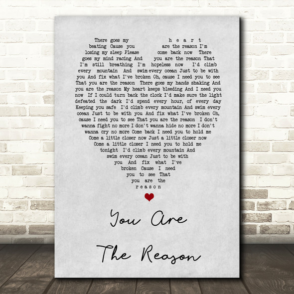 Calum Scott You Are The Reason Grey Heart Song Lyric Quote Print