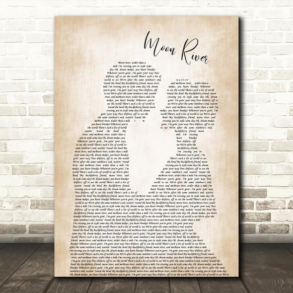 Henry Mancini Moon river Man Lady Bride Groom Wedding Song Lyric Print