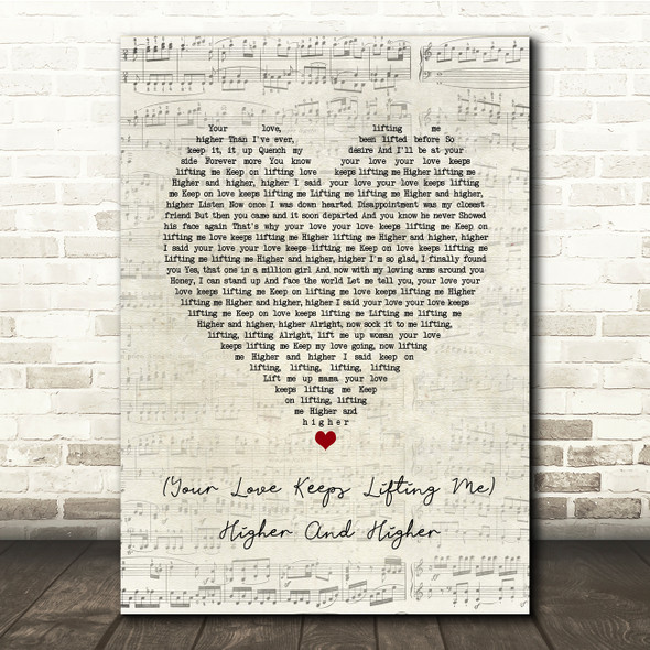 Jackie Wilson Your Love Keeps Lifting Me Higher And Higher Script Heart Lyric Print