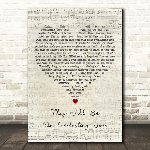 Natalie Cole This Will Be (An Everlasting Love) Script Heart Song Lyric Print