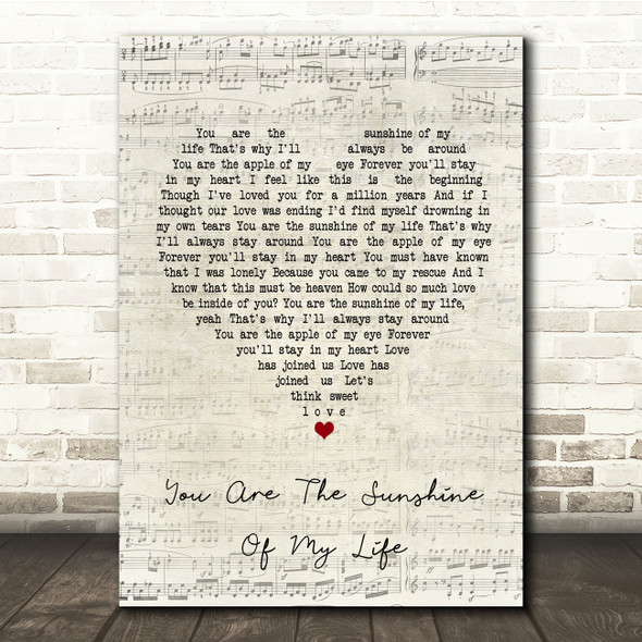 Stevie Wonder You Are The Sunshine Of My Life Script Heart Song Lyric Print