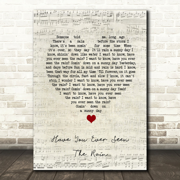 Creedence Clearwater Revival Have You Ever Seen The Rain Script Heart Lyric Print