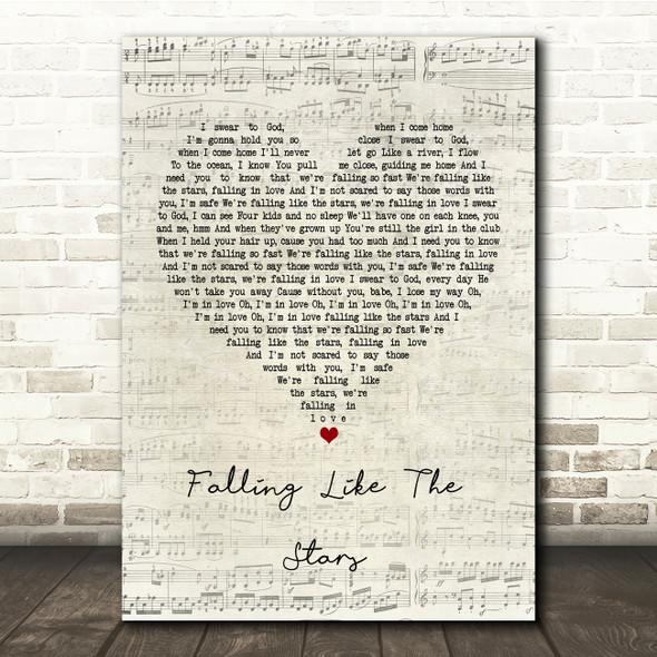 James Arthur Falling like the Stars Script Heart Song Lyric Print
