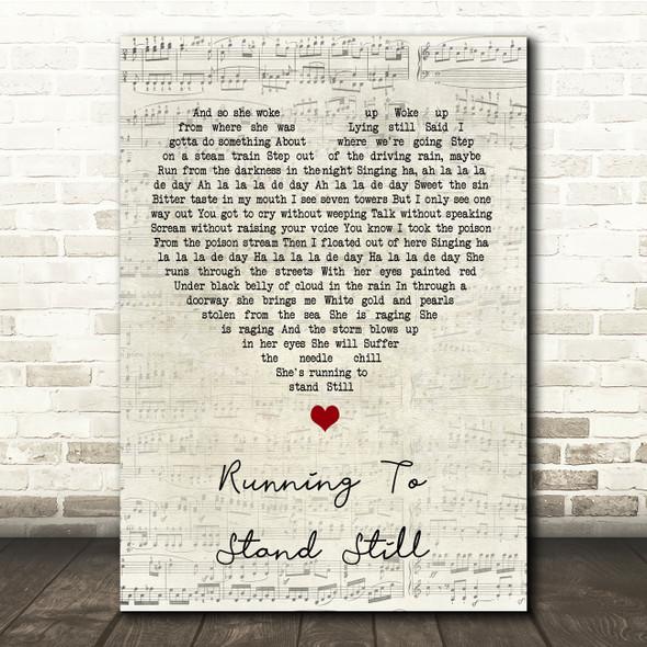 U2 Running To Stand Still Script Heart Song Lyric Print