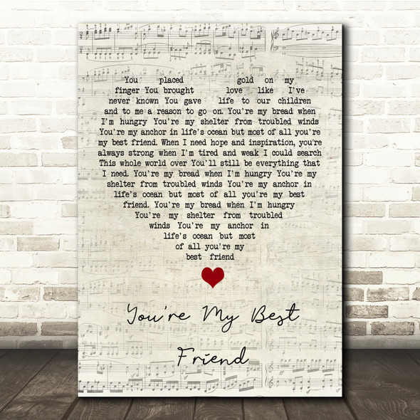 Don Williams You're My Best Friend Script Heart Song Lyric Print
