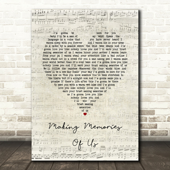 Keith Urban Making Memories Of Us Script Heart Song Lyric Print