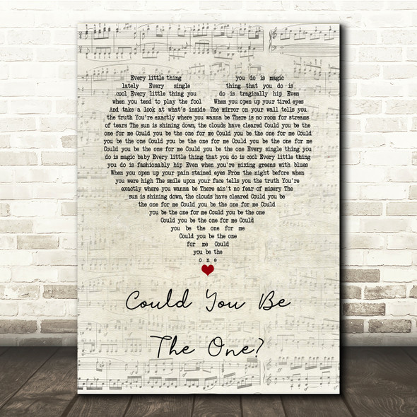 Stereophonics Could You Be The One Script Heart Song Lyric Print