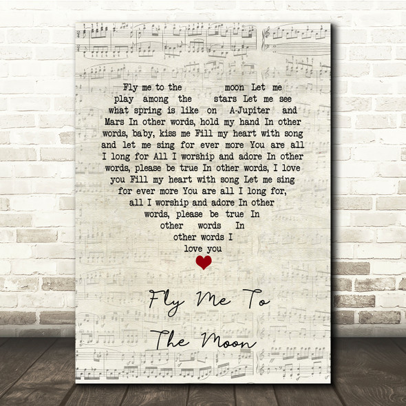 Frank Sinatra Fly Me To The Moon Script Heart Song Lyric Print