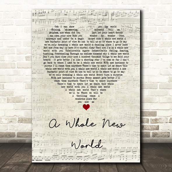 Peabo Bryson & Regina Belle A Whole New World Script Heart Song Lyric Print