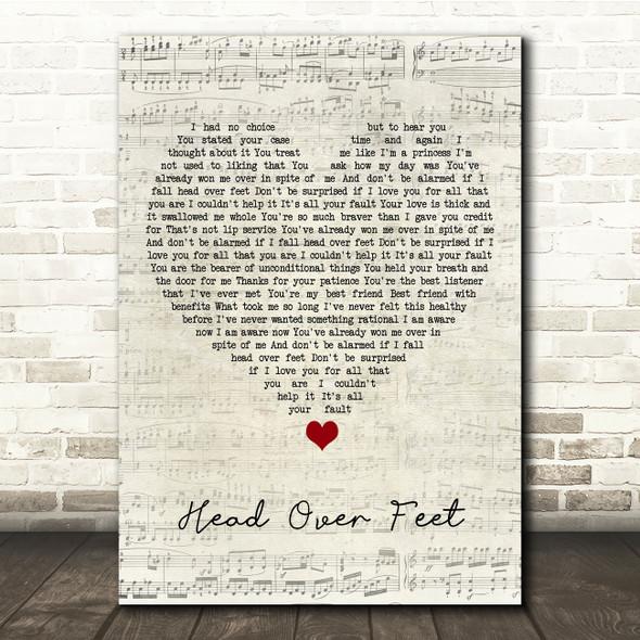 Alanis Morissette Head Over Feet Script Heart Song Lyric Print