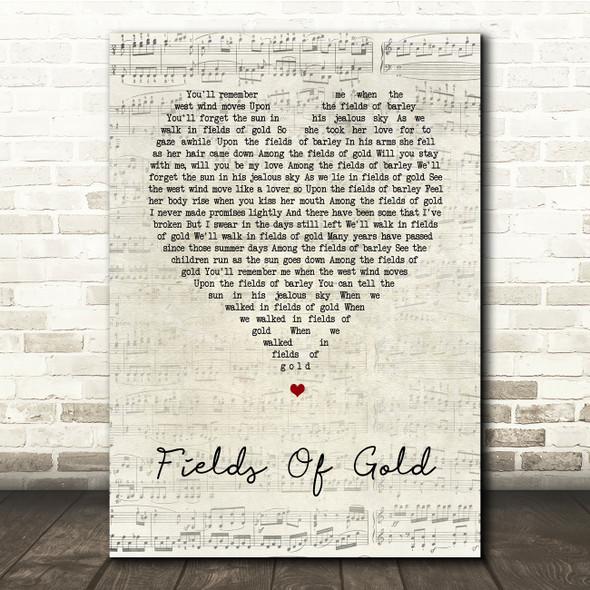 Sting Fields Of Gold Script Heart Song Lyric Print