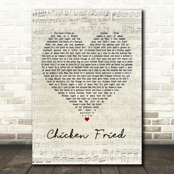 Zac Brown Band Chicken Fried Script Heart Song Lyric Print