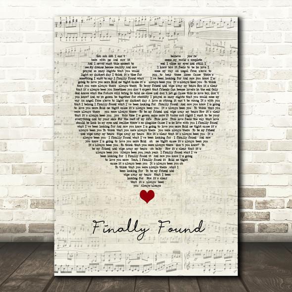 Honeyz Finally found Script Heart Song Lyric Print