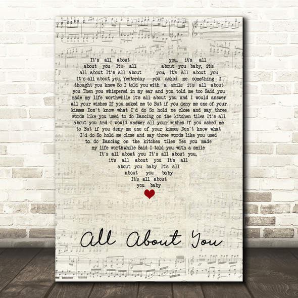 McFly All About You Script Heart Song Lyric Print