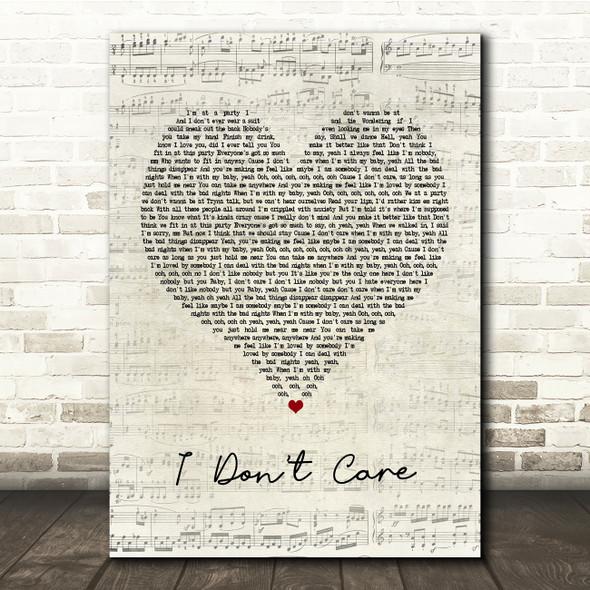 Ed Sheeran & Justin Bieber I Don't Care Script Heart Song Lyric Print