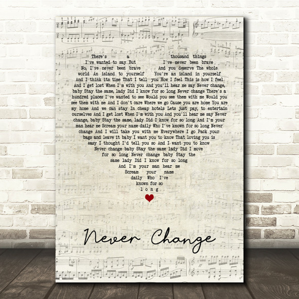 Picture This Never Change Script Heart Song Lyric Print