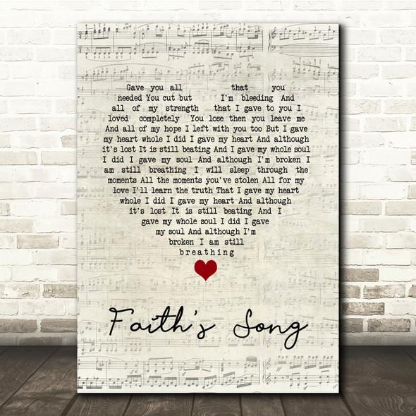 Amy Wadge Faith's Song Script Heart Song Lyric Print