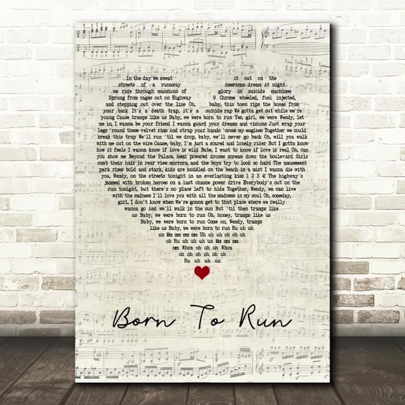 Bruce Springsteen Born To Run Script Heart Song Lyric Print
